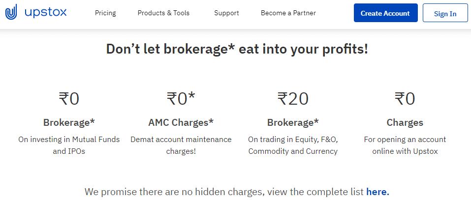 Upstox brokerage chages